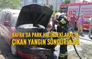 Bafra'da Park Halindeki Araçta Çıkan Yangın...