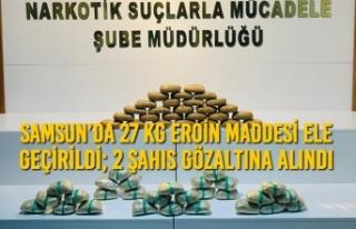 Samsun'da 27 Kg Eroin Maddesi Ele Geçirildi; 2...