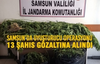 Samsun'da Uyuşturucu Operasyonu; 13 Şahıs Gözaltına...