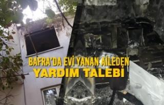 Bafra'da Evi Yanan Aileden Yardım Talebi