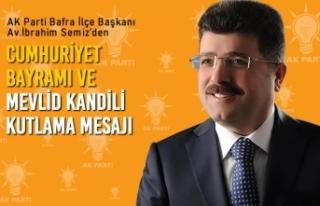 Başkan Semiz'den 29 Ekim Cumhuriyet Bayramı Ve...