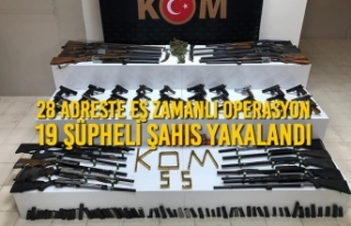 Samsun'da 28 Adreste Eş Zamanlı Operasyon; 19...