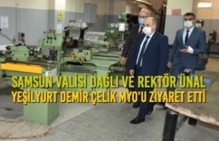 Vali Dağlı ve Rektör Ünal Yeşilyurt Demir Çelik...