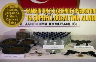 Samsun'un 6 İlçesinde Operasyon; 15 Şüpheli...