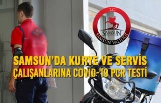 Samsun'da Kurye ve Servis Çalışanlarına COVID-19...