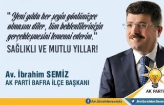 AK Parti Bafra İlçe Başkanı Av.İbrahim Semiz'den...