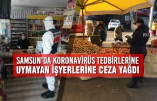 Samsun'da Koronavirüs Tedbirlerine Uymayan İşyerlerine...