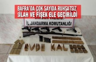 Bafra'da Çok Sayıda Ruhsatsız Silah ve Fişek...