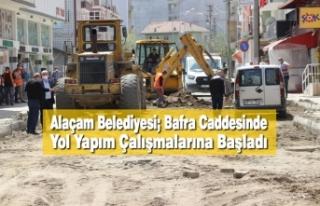 Alaçam Belediyesi; Bafra Caddesinde Yol Yapım Çalışmalarına...