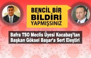 Bafra TSO Meclis Üyesi Kocabaş'tan Başkan Başar'a...