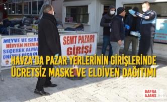 Havza'da Pazar Yerlerinin Girişlerinde Ücretsiz Maske Ve Eldiven Dağıtımı