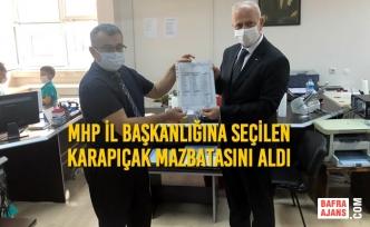 MHP İl Başkanlığına Seçilen Abdullah Karapıçak Mazbatasını Aldı
