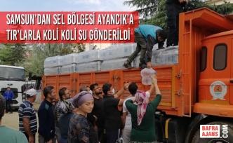 Samsun'dan Sel Bölgesi Ayancık'a Tır'larla Koli Koli Su Gönderildi