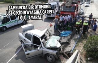 Otomobil Üst Geçidin Ayağına Çarptı: 1 Ölü, 3 Yaralı