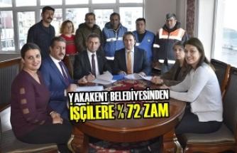 Yakakent Belediyesinden İşçilere % 72 Zam