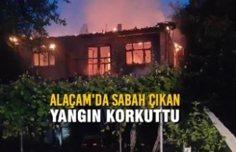 Alaçam'da Sabah Çıkan Yangın Korkuttu