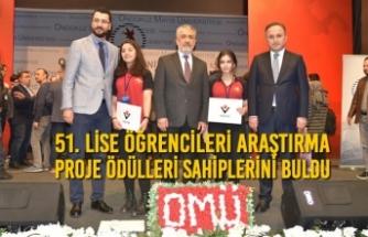 51. Lise Öğrencileri Araştırma Proje Ödülleri Sahiplerini Buldu