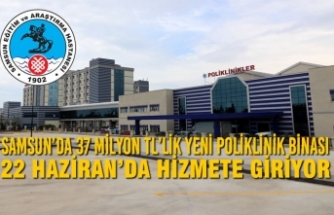 Samsun'da 37 Milyon TL'lik Yeni Poliklinik Binası 22 Haziran'da Hizmete Giriyor
