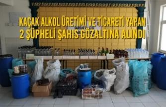 Kaçak Alkol Üretimi ve Ticareti Yapan 2 Şüpheli Şahıs Gözaltına Alındı