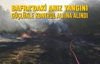 Bafra'daki Anız Yangını Güçlükle Kontrol Altına Alındı