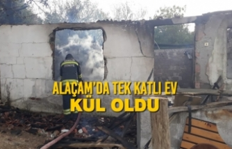 Alaçam'da Tek Katlı Ev Kül Oldu