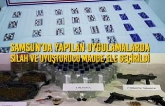 Samsun'da Yapılan Uygulamalarda Silah ve Uyuşturucu Madde Ele Geçirildi