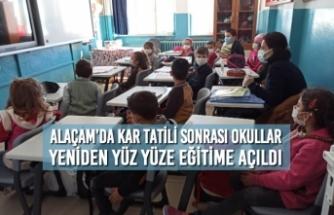 Alaçam'da Kar Tatili Sonrası Okullar Yeniden Yüz Yüze Eğitime Açıldı