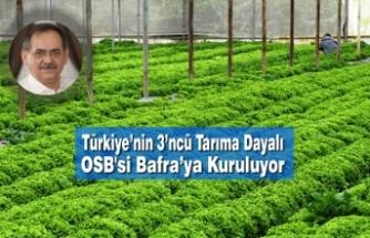 Türkiye'nin 3'ncü Tarıma Dayalı Organize Sanayi Bölgesi Bafra'ya Kuruluyor