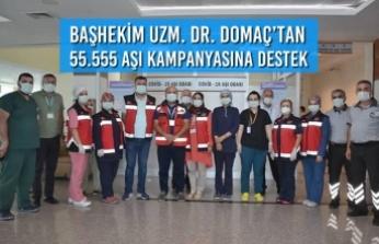 Başhekim Uzm. Dr. Alaiddin Domaç'tan 55.555 Aşı Kampanyasına Destek