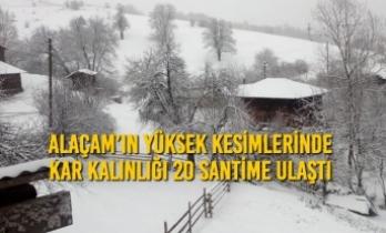 Alaçam'da Yüksek Kesimlerde Kar Kalınlığı 20 Santime Ulaştı