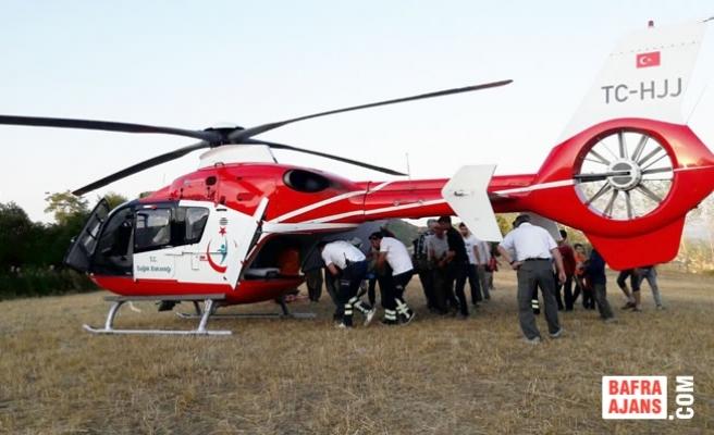 Yaralı Çiftçinin İmdadına Helikopter Yetişti