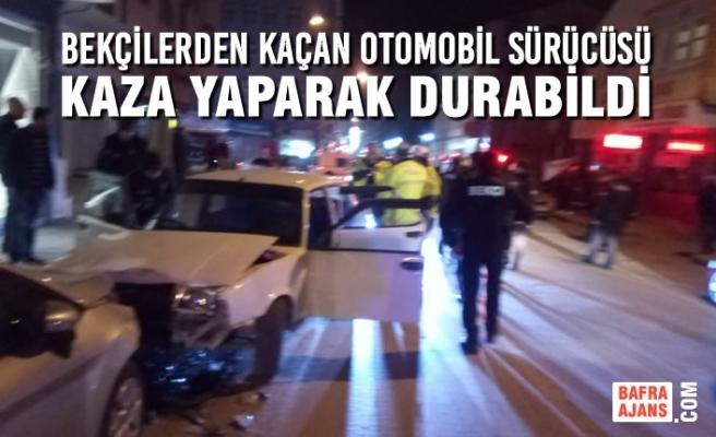 Bekçilerden Kaçan Otomobil Sürücüsü, Kaza Yaparak Durabildi