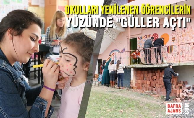 """Okulları Yenilenen Öğrencilerin Yüzünde """"Güller Açtı"""""""