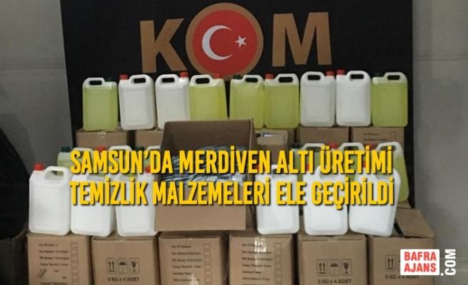 Samsun'da Merdiven Altı Üretimi Temizlik Malzemeleri Ele Geçirildi