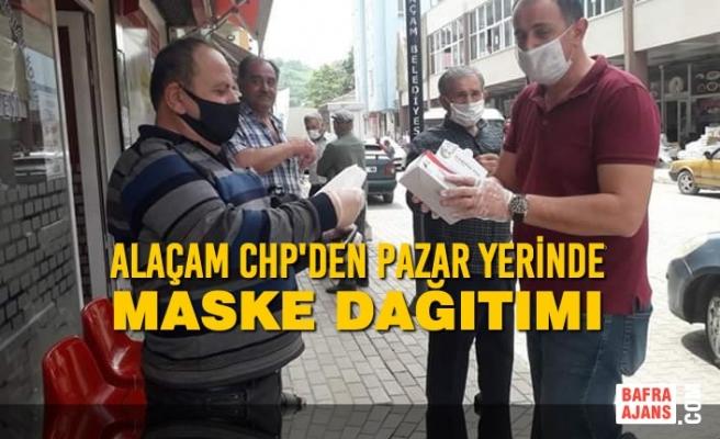 Alaçam CHP'den Pazar Yerinde Maske Dağıtımı