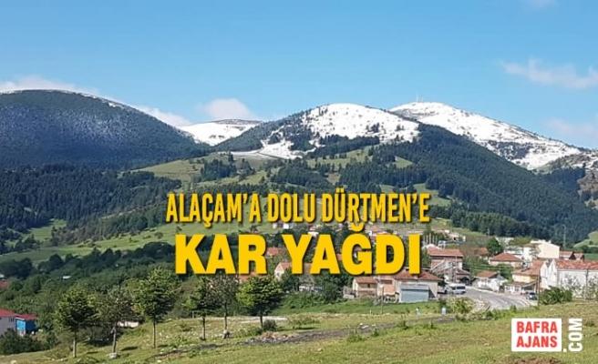 Alaçam'a Dolu Dürtmen'e Kar Yağdı