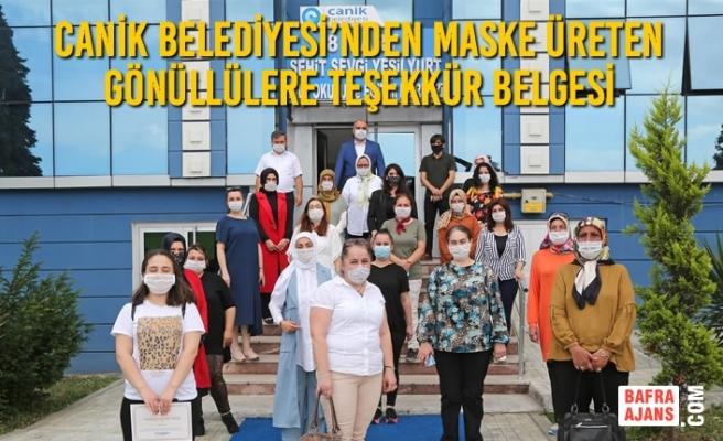 Canik Belediyesi'nden Maske Üreten Gönüllülere Teşekkür Belgesi