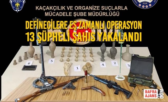 Definecilere Eş Zamanlı Operasyon; 13 Şüpheli Şahıs Yakalandı