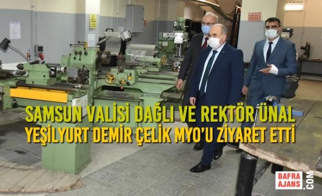 Vali Dağlı ve Rektör Ünal Yeşilyurt Demir Çelik MYO'u Ziyaret Etti