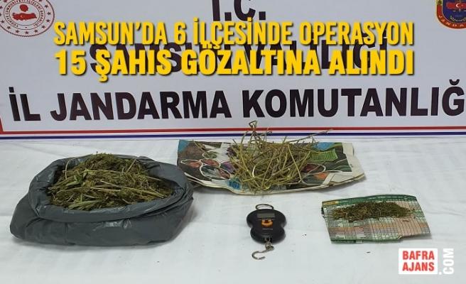 Samsun'da 6 İlçesinde Düzenlenen Operasyonlarda 15 Şahıs Gözaltına Alındı
