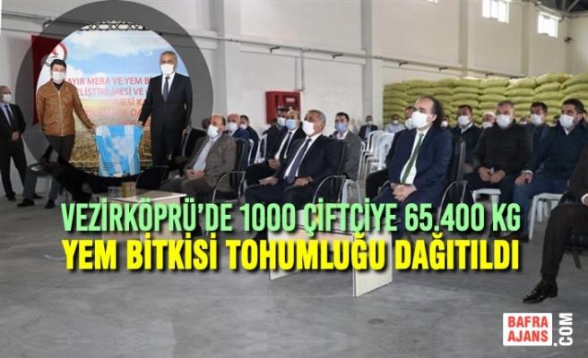 Vezirköprü'de 1000 Çiftçiye 65.400 Kg Yem Bitkisi Tohumluğu Dağıtıldı