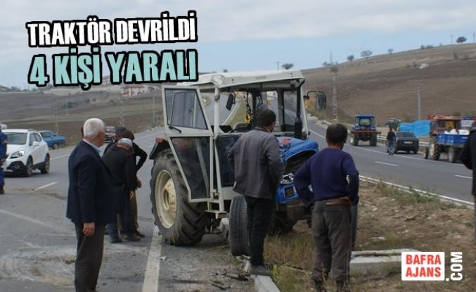 Vezirköprü'de Traktör Devrildi: 4 Yaralı
