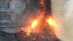 Bafra'da Markette Çıkan Yangında Maddi Hasar Oluştu